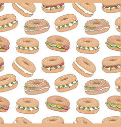 Seamless pattern with bagel sandwiches vector