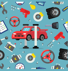 Seamless pattern with pictures of auto spare parts vector