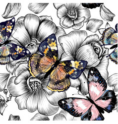 Seamless wallpaper pattern with vintage butterfly vector