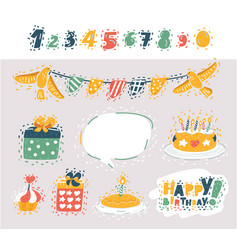 set birthday party design elements vector image