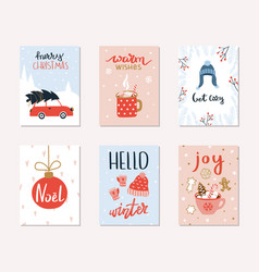 Set of 6 merry christmas and happy new year gift vector