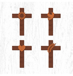 set of crosses with christian symbols vector image