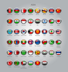 Set of round glossy flags of sovereign countries vector