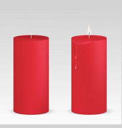 set red candles with and without flame on vector image