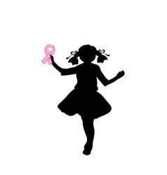 Silhouette girl with pink ribbon vector