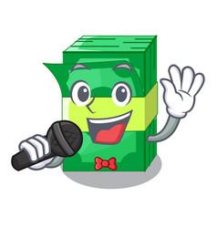 Singing stacks money dollar on bank character vector