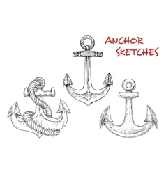 Sketches of ancient marine anchors with rope vector