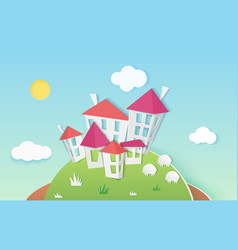 Small cute houses buildings on hill made of paper vector
