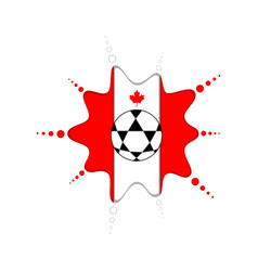 soccer ball on a canadian emblem vector image