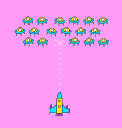 space ship invaders shooting game vector image