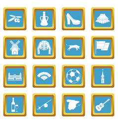 spain travel icons azure vector image