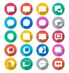 Speech bubble flat color icons vector image