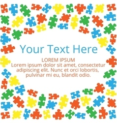 Text box with puzzles 01 vector image