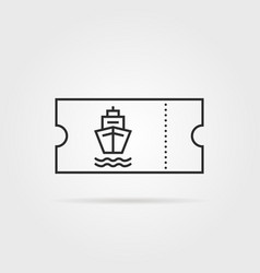 thin line marine boat ticket black icon vector image