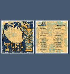 Tiki bar club menu template design drinks flyer vector