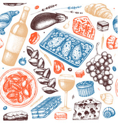 Traditional french food seamless pattern with vector