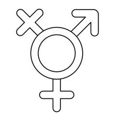 Transgender sign icon outline style vector