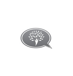 tree trunk with head and green leaves logo design vector image