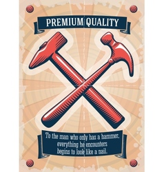 Two retro hammers tool shop poster vector