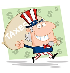 Uncle Sam Carrying A Taxes Bag vector image