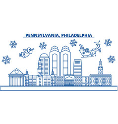 Usa pennsylvania philadelphia winter city vector