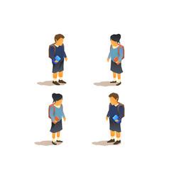 young pupils in school uniforms vector image