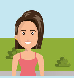 Young woman in the camp character scene vector