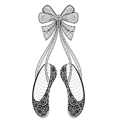 zentangle ballet dance shoes symbol vector image
