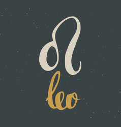 Zodiac sign leo and lettering hand drawn vector