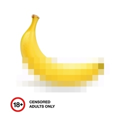 Banana closed by censorship symbol adult only 18 vector image