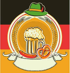 Beer label with German flag and oktoberfest vector image vector image