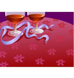 two wine glass and ribbon vector image vector image