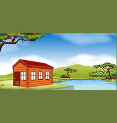 wooden cottage by the pond vector image vector image