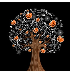 Halloween icons tree vector image