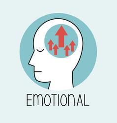 profile human head emotional brain vector image