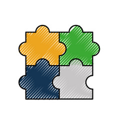 puzzle jigsaw strategy goal business symbol vector image