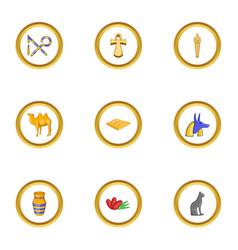 egyptian pyramid icons set cartoon style vector image