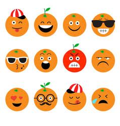 emojis orange fruit summer set of emotional vector image vector image