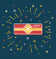 shining gift box icon in flat style vector image vector image