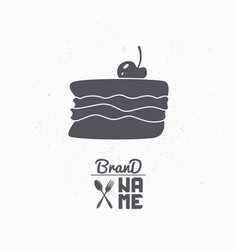 Hand drawn silhouette of cake with cherry vector