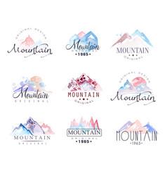 mountain original logo design watercolor vector image vector image