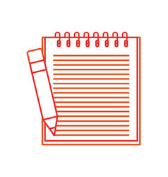 school notebook spiral with pencil education vector image