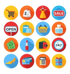 Set of flat shopping icons vector image vector image