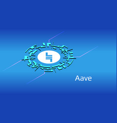 aave lend isometric token symbol defi vector image