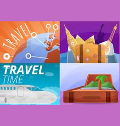 agency travel banner set cartoon style vector image