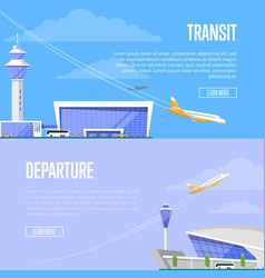 Aircraft transit and airport departure flyers vector