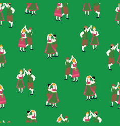 bavarian couple background oktoberfest dancing vector image