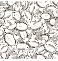 Black and white seamless pattern with plums vector