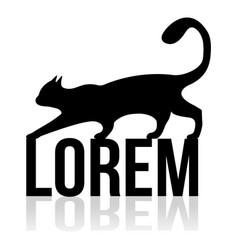 black cat logo vintage cat silhouette on white vector image