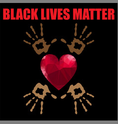 Black lives matter banner with red heart for vector
